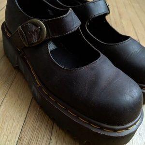 Dr. Martens Mary Janes Brown Platform Leather Shoe